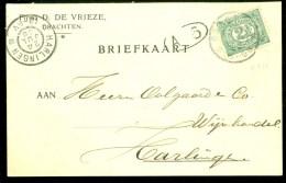 HANDGESCHREVEN BRIEFKAART Uit 1906 Van DRACHTEN Naar HARLINGEN  (9839m) - Periode 1891-1948 (Wilhelmina)