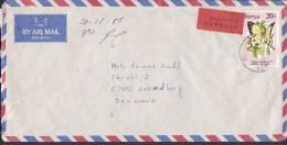 Kenya Air Mail Par Avion Registered EXPRESS Label NAIROBI 1989 Cover Brief Denmark Schmetterling Butterfly Papillon - Kenia (1963-...)