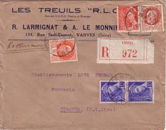 SEINE - VANVES - LETTRE RECOMMANDEE DU 29-9-1942 - ENTETE R.LARMIGNAT LES TREUILS -COLLECTION TYPE PETAIN - Postmark Collection (Covers)