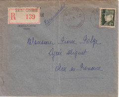 BOUCHES DU RHONE - SAINT CHAMAS - LETTRE RECOMMANDEE DU 19-1-1943 - AVEC TEXTE - COLLECTION TYPE PETAIN. - Postmark Collection (Covers)