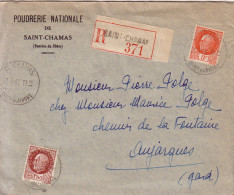 BOUCHES DU RHONE - SAINT CHAMAS - LETTRE RECOMMANDEE DU 31-7-1944 - POUDRERIE NATIONALE - COLLECTION TYPE PETAIN. - Postmark Collection (Covers)