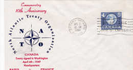 FDC 1959 Ottawa Ontario NATO OTAN 10th Anniversary - OTAN
