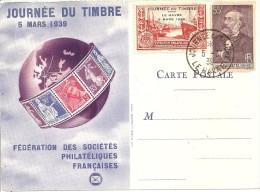 CARTE JOURNEE DU TIMBRE : CACHET LE HAVRE DU 5 MARS 1939 - ....-1949