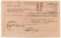 BELGIQUE - 1956 ONTVANGKAART - From BRUGGE To SIJSELE - Documents Of Postal Services