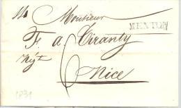 MONACO --==-- MENTON --==-- Principaut� de Monaco -- Pr�philat�lie LAC 1831 pour NICE ( Belle griffe MENTON