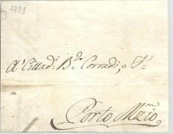 MONACO --==-- ITALIE --==-- PORT MAURICE -- Préphilatélie LAC 1798 De GENOVA Pour PORTO MAURIZIO - Monaco