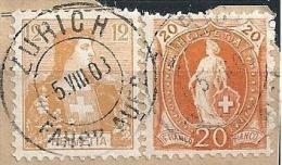 Mischfrankatur  Stehende Helvetia / Helvetia Brustbild  (32 Rp.-Frankatur)             1908 - 1882-1906 Wappen, Stehende Helvetia & UPU