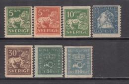1923 - 1926    YVERT   Nº 154 , 155 , 156 , 157A , 158 , 161 , 162 ,     / * / - Svezia