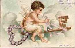 Thème Coeur - Ange Cupidon Assis Sur Clef Coeur Violettes - Angels