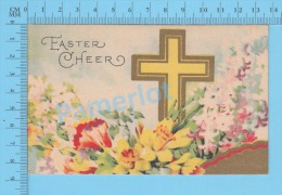Easter Post Card ( Easter Cherr Cross Flowers )  CPA Carte Postale 2 Scans - Pâques