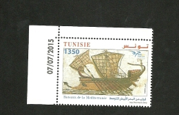 2015- Tunisia- Boats In Euromed-Compl.set MNH**,Joint & Common Issue ( Dated Corner) - Tunesië (1956-...)