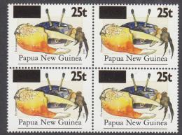 PAPUA NEW GUINEA, 1998 CRAB O/PRINT BLOCK 4 MNH - Papua New Guinea