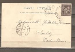 Lot  1790     // Carte SAGE    CAD     LE MONT SAINT MICHEL  Pour  ALSACE ANNEXEE - 1849-1876: Periodo Classico