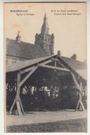 Roesbrugge, Rousbrugge, de kerk en auto schuilplaats (pk22398)