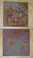 ANCIENNE TAPISSERIE TENTURE FRANCE ECRIT AU DORE 2 HOMMES GALANTS AVEC FEMME TBE  VOIR PHOTOS   23 X 24 CM - Rugs, Carpets & Tapestry