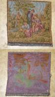 ANCIENNE TAPISSERIE TENTURE FRANCE ECRIT AU DORE  HOMME GALANT AVEC 2 FEMMES TBE  BON ETAT VOIR PHOTOS   23 X 24 CM - Tapis & Tapisserie