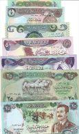 IRAQ 1/4 1/2 1 5 10 25 25 DINARS 1979 1986 P67:73 SET ALL UNC LOT OF 7 set LOOK