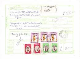 Flugpost Paketkarte 20.07.1981 Einschreiben G.P.O. Kuwait Nach Indien - Koweït