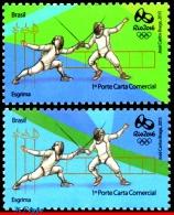 Ref. BR-V2015-1603 BRAZIL 2015 - SPORTS, OLYMPIC GAMES, RIO 2016, FENCING, L&R OF THE SHEET, MNH 2V - Eté 2016: Rio De Janeiro
