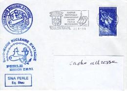 SOUS MARIN SNA PERLE ZMOI + Griffe équipage Bleu Obl. Toulon Naval 20/08/98 - Naval Post