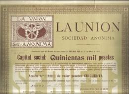La Union Sociedad Anonima Accion De 50 Pesetas  Doc.186 - Azioni & Titoli