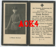Sterbebild doodsprentje 1917 Sint-Juliaan St. Julien Langemark-Poelkapelle Flandern Ypern Menen Ieper Dorberth
