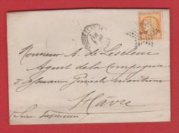 Lettre //  De Paris  //  Pour Le Havre //  4 Mai 1875  //  Cachet étoile N 1 - 1849-1876: Période Classique