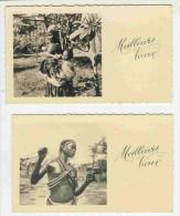 Lot De 2 Minicartes De Voeux  Afrique  Gabon (voir Scan Du Dos) - Nieuwjaar