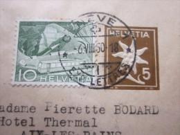 1950 ENTIER POSTAUX RELIEF + TIMBRE Rajouté BANDE PR JOURNAL GENEVE SUISSE HELVETIA BANDE JOURNAUX>AIX LES BAINS FRANCE - Interi Postali