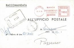 FG122    BANCA PASSADORE & C. GENOVA  - Affrancatura Meccanica Rossa - 1984 - Affrancature Meccaniche Rosse (EMA)