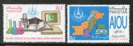 Pakistan 1999 Allama Iqbal Open University Islam Map Book Crest Moon ComputerSc 936-7 MNH # 1665 - Islam