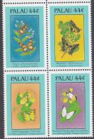 PALAU, 1988 BUTTERFLIES BLOCK 4 MNH - Palau