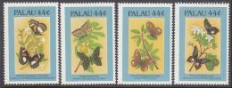 PALAU, 1987 BUTTERFLIES  4 MNH - Palau