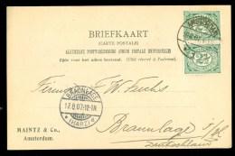 HANDGESCHREVEN BRIEFKAART Uit 1907 Van AMSTERDAM Naar BRAUNLAGE DEUTSCHLAND   (9840i) - Periode 1891-1948 (Wilhelmina)