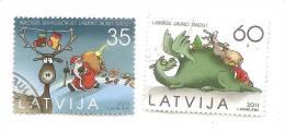 2011 Latvia Lettland CHRISTMAS Stamp  Set SANTA + DINO + Reindeer USED (0) FULL SET - Lettland