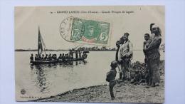 GRAND LAHOU Cote D'Ivoire GRANDE PIROGUE De La LAGUNE Afrique CPA Animee Postcard - Ivory Coast