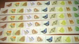 Belgium 100 Butterflies MNH / Vlinders **/ Papillons / Farfalle / Mariposas / 蝶 / 蝴蝶  LEZEN!!!LIRE