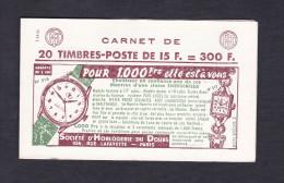 Carnet complet 20 timbres Marianne de Muller 15 F Horlogerie du Doubs roseraies Pernet Ducher margarine Excel Lincoln