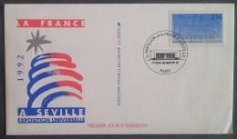 FDC 1992 - YT N°2736 - PAVILLON DE LA FRANCE A SEVILLE / PARIS - FDC
