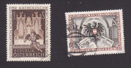 Austria, Scott #596, 598, Used, Congress For Church Music, Arms Of Austria, Issued 1954 - 1945-60 Gebraucht