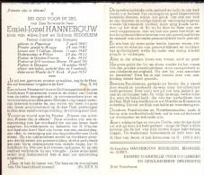 Doodsprentje Pastoor Emiel Hannebouw - Poperinge 1882 - Menen Pittem Houtem Bissegem 1947 - Obituary Notices