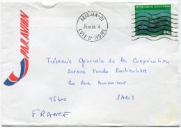 COTE D'IVOIRE LETTRE PAR AVION DEPART ABIDJAN 21-10-80 POUR LA FRANCE (AFFRANCHISSEMENT N°510B POISSON) - Ivory Coast (1960-...)