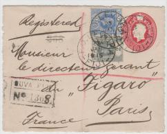 Bro016c/f FIDSCHI -  Ganzsache - Vorderseite, Mit Zusatzfrankatur Per Einschreiben 1915 - Fiji (...-1970)
