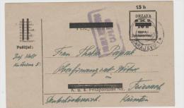 Yu100   JUGOSLAWIEN -  Provisorium Aus Sarajevo Nach Friesach (Kärnten)  1920, Zensiert - 1919-1929 Königreich Der Serben, Kroaten & Slowenen