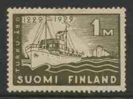 "Finland Suomi 1929 Mi 140 YT 136 * MH - Freighter ""Bore"" Leaving Turku (Abo) / Dampfer ""Bore"" Vor Hafen Turku / Vapeur - Boten"