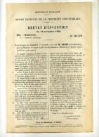 - FABRICATION DE CASQUES EN FIBRE DE BOIS VULCANISEE (pour Armées Coloniales...). BREVET D´INVENTION DE 1902 . - Hoeden
