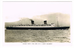RB 1049 -  Real Photo Postcard - Cunard White Star Line R.M.S. Queen Elizabeth - Ship Boat - Paquebote