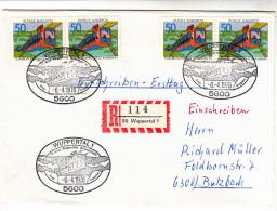 BRD Brief-Kuvert, Stempel Und Marke Wuppertal, Tolle Mehrfach-Frankatur, Kuvert Mit R-Zettel, 1976 - BRD