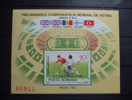 1985 Romania - Soccer , Footbal , Sport - Imperforated Souvenir Sheet - Used MNH - Copa Mundial