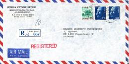 Japan Registered Air Mail Cover Sent To Denmark Kobe Port 25-7-1980 - Posta Aerea